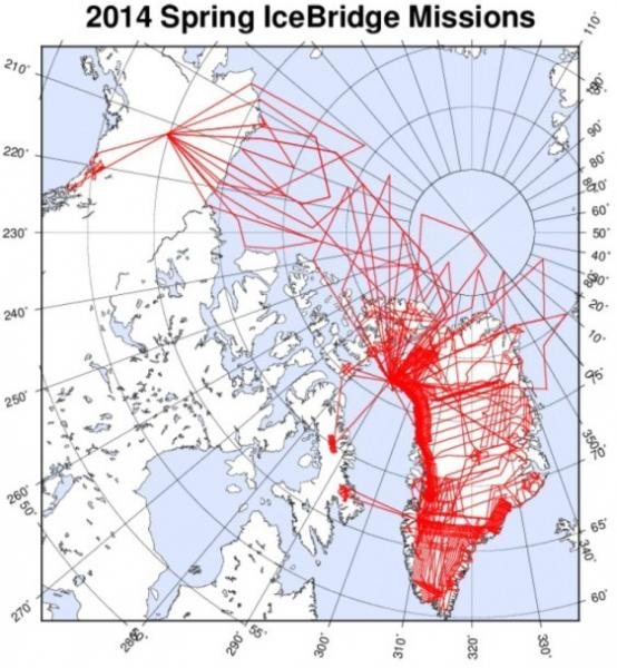 Proposed flight lines for 2014 Spring OIB deployment. (Source: Spring 2014 IceBridge P-3 Flight Plans, 10 March 2014 Draft, compiled by John Sonntag, NASA)