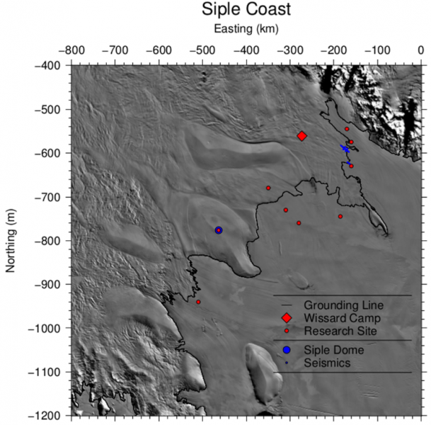 "Graphic showing proposed measurement locations. The SLW/CReSIS field camp was located near the previous ""Wissard Camp"" location. Small red dots represent ""super sites"", where there were three landing sites (measurement sites) within a 15 km radius of the red dot location. Siple Dome and Whillans Ice Stream locations were highest priority. Siple Dome was the calibration site because of the known ice thickness, temperature, and impurities. (Graphic provided by Sridhar Anandakrishnan)."